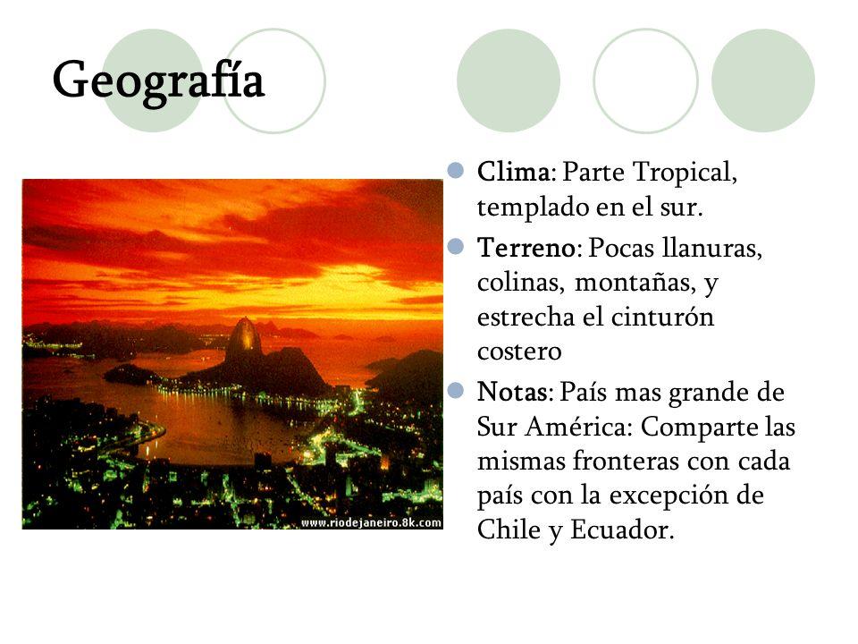Geografía Clima: Parte Tropical, templado en el sur.