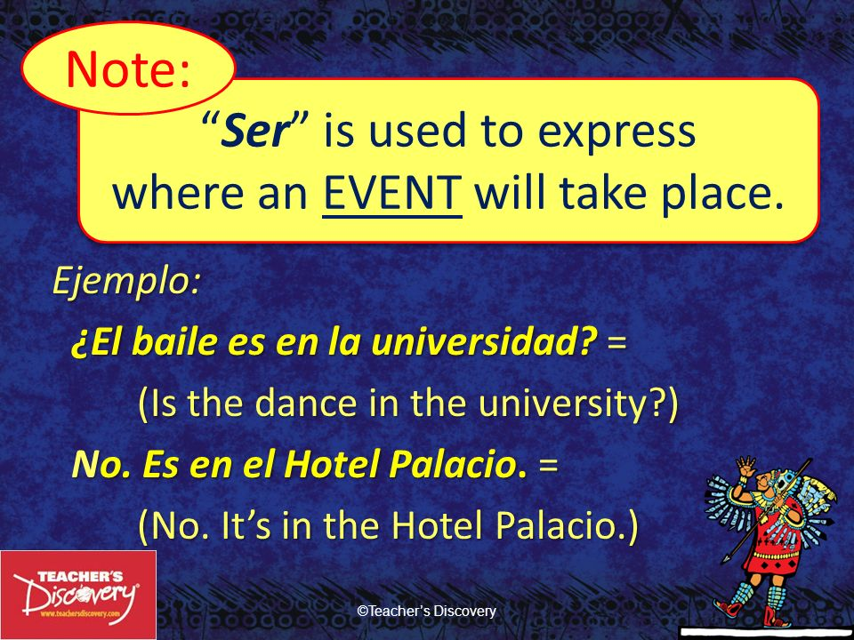 Note: Ser is used to express where an EVENT will take place.
