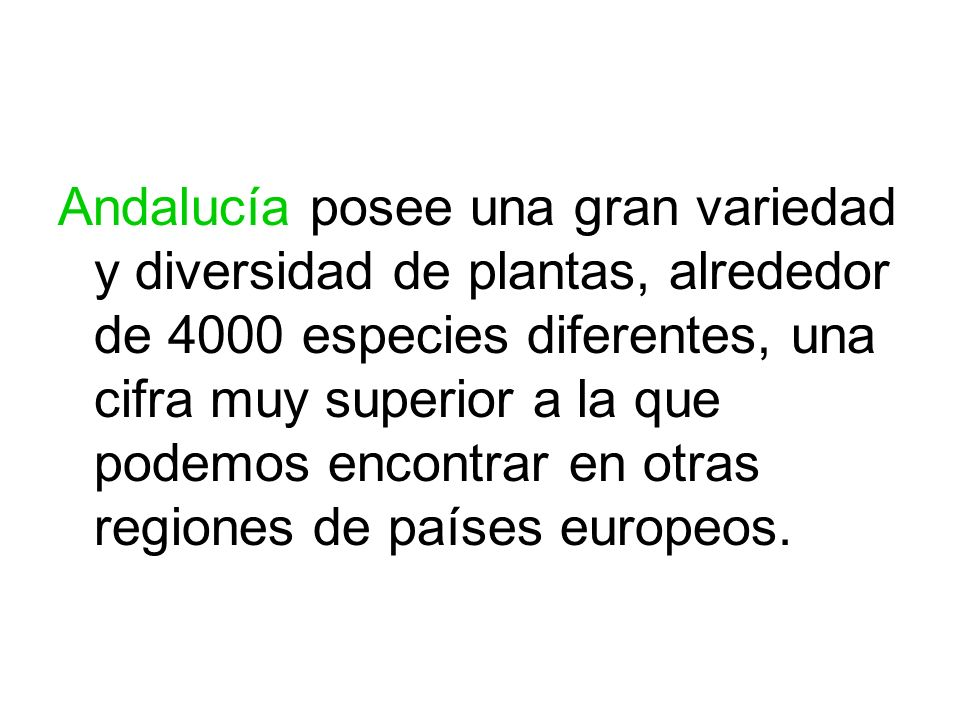 Andalucía posee una gran variedad y diversidad de plantas, alrededor de 4000 especies diferentes, una cifra muy superior a la que podemos encontrar en otras regiones de países europeos.