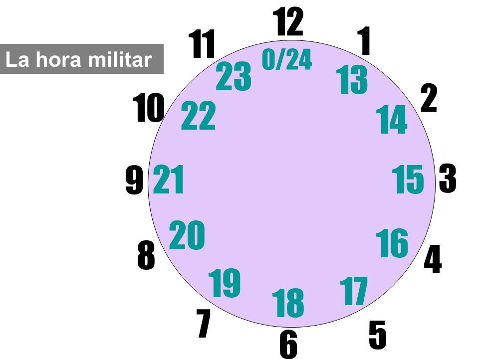 12 6 11 1 0/24 La hora militar 23 13 2 10 22 14 9 21 15 3 20 16 8 4 19 17 18 7 5