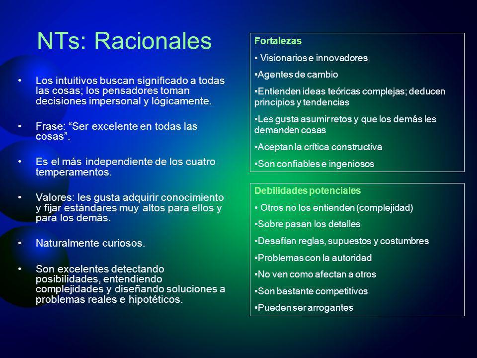 NTs: Racionales Fortalezas. Visionarios e innovadores. Agentes de cambio. Entienden ideas teóricas complejas; deducen principios y tendencias.