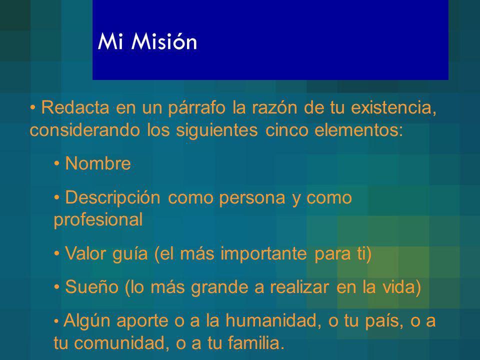 Mi Misión Redacta en un párrafo la razón de tu existencia, considerando los siguientes cinco elementos: