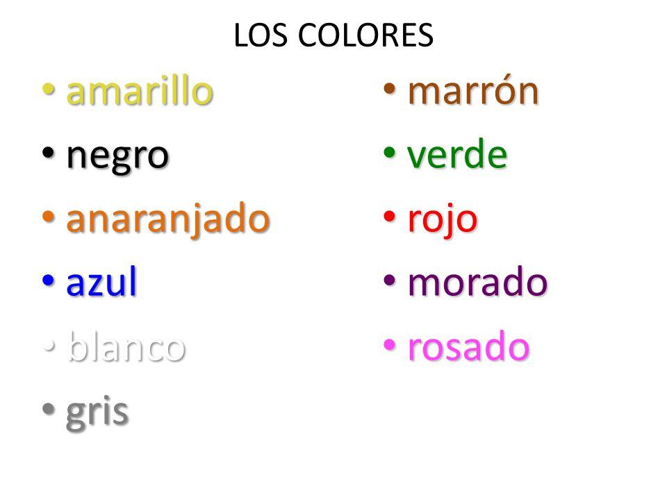 amarillo negro anaranjado azul blanco gris marrón verde rojo morado