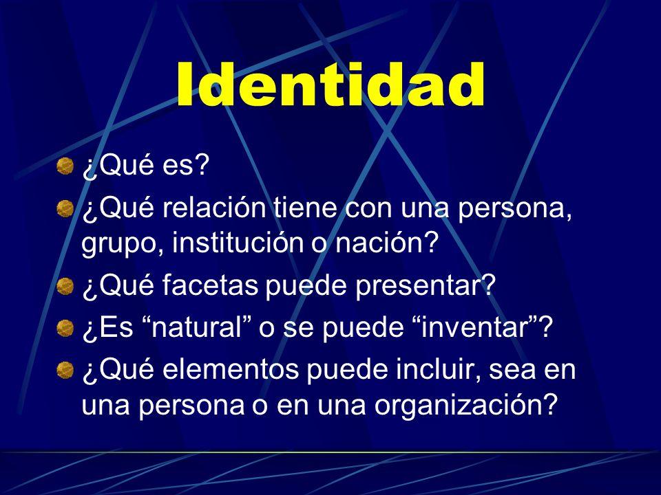 Identidad ¿Qué es ¿Qué relación tiene con una persona, grupo, institución o nación ¿Qué facetas puede presentar