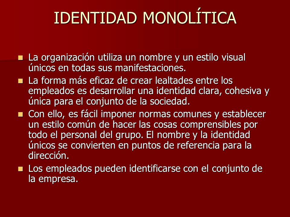 IDENTIDAD MONOLÍTICA La organización utiliza un nombre y un estilo visual únicos en todas sus manifestaciones.
