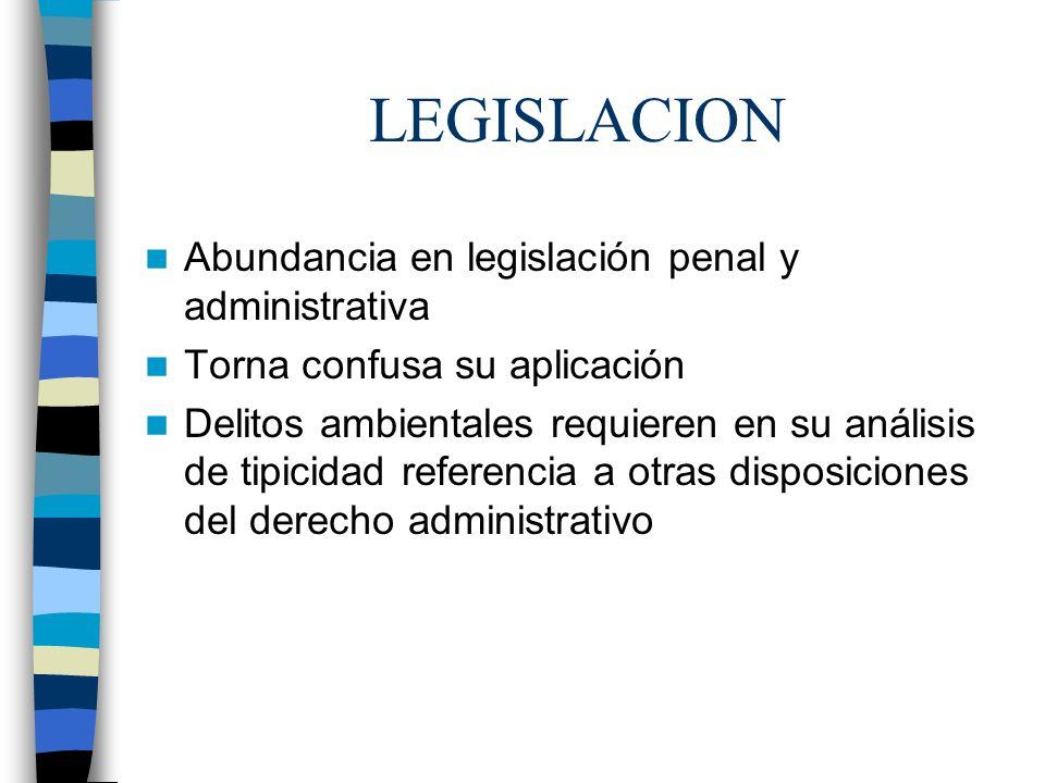 LEGISLACION Abundancia en legislación penal y administrativa