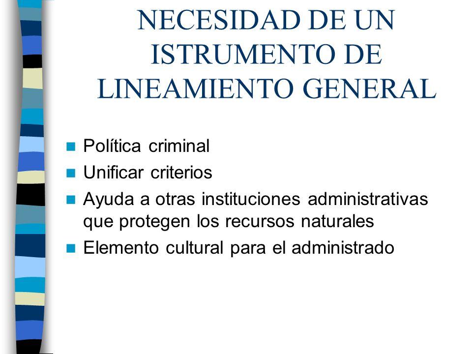 NECESIDAD DE UN ISTRUMENTO DE LINEAMIENTO GENERAL