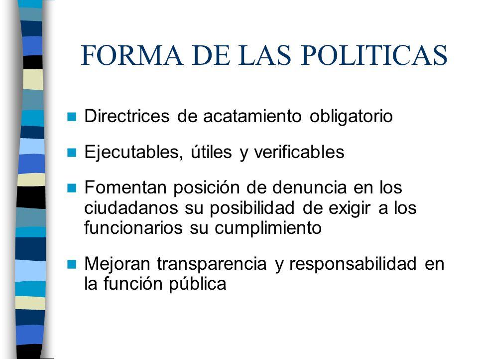 FORMA DE LAS POLITICAS Directrices de acatamiento obligatorio