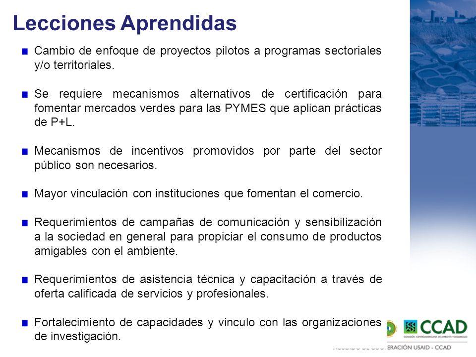 Lecciones Aprendidas Cambio de enfoque de proyectos pilotos a programas sectoriales y/o territoriales.