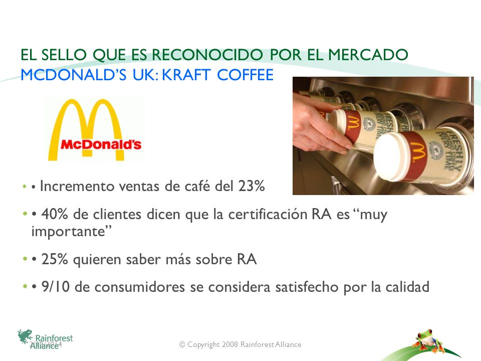 El Sello que es reconocido por el mercado McDonald's UK: Kraft Coffee
