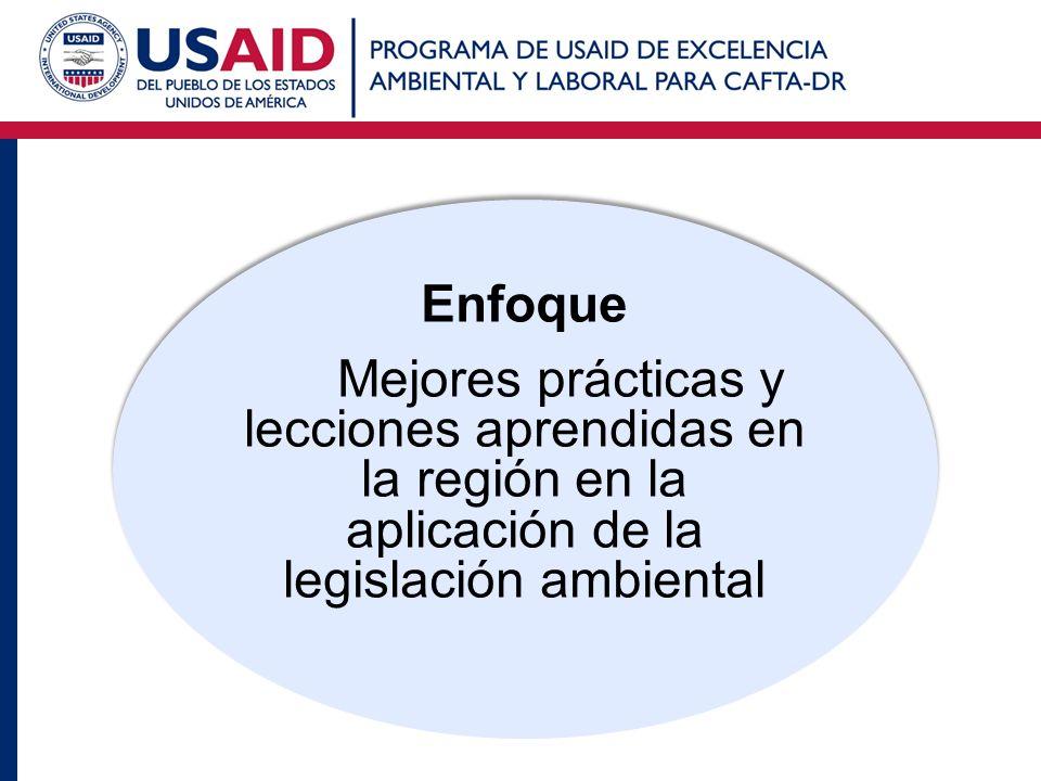 Enfoque Mejores prácticas y lecciones aprendidas en la región en la aplicación de la legislación ambiental.