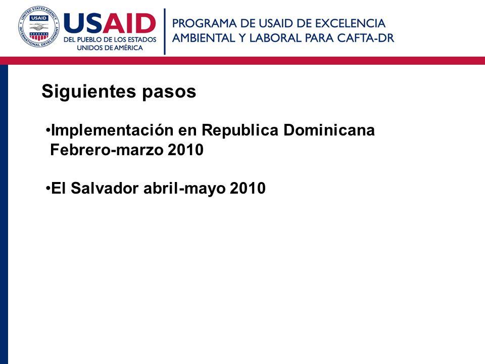 Siguientes pasos Implementación en Republica Dominicana