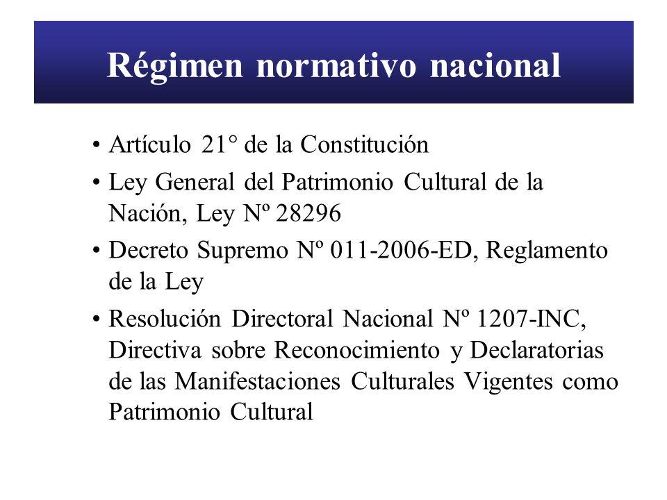 Régimen normativo nacional