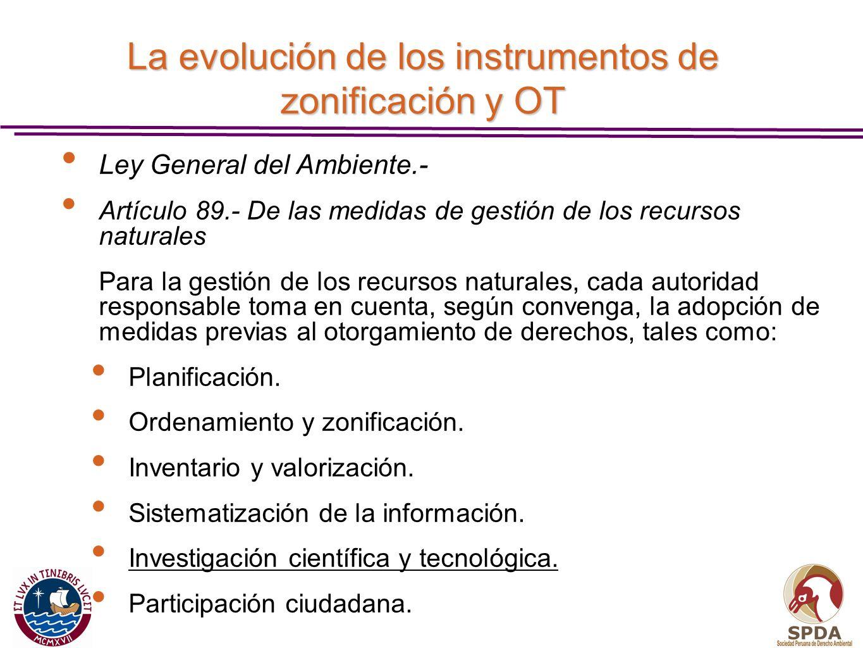 La evolución de los instrumentos de zonificación y OT