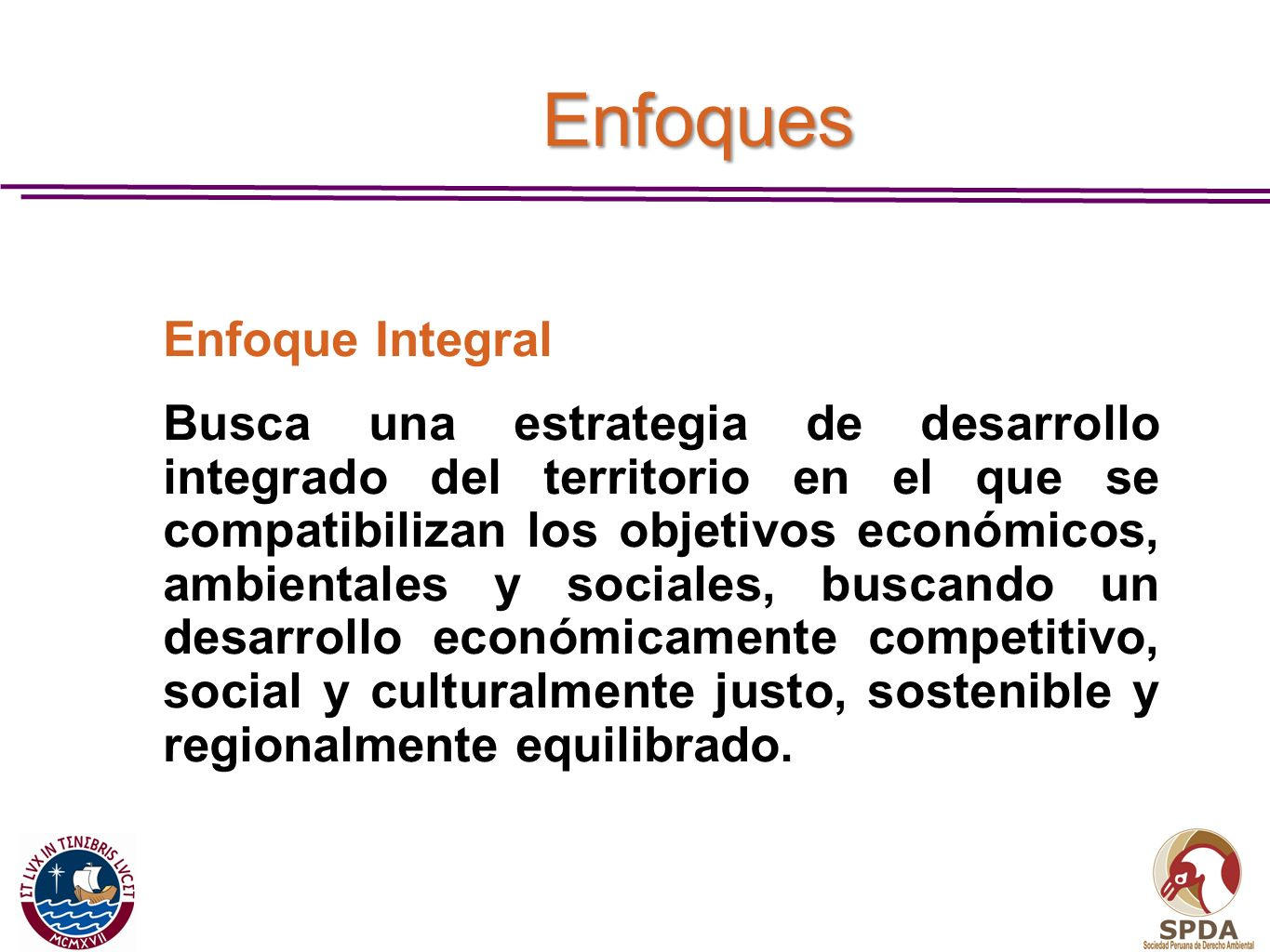 Enfoques Enfoque Integral.