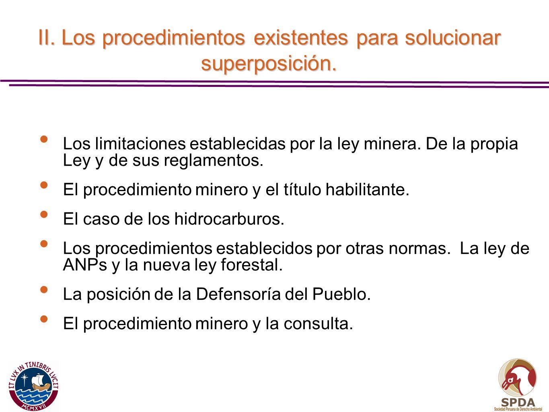 II. Los procedimientos existentes para solucionar superposición.