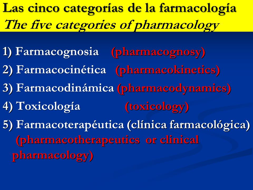 Las cinco categorías de la farmacología The five categories of pharmacology