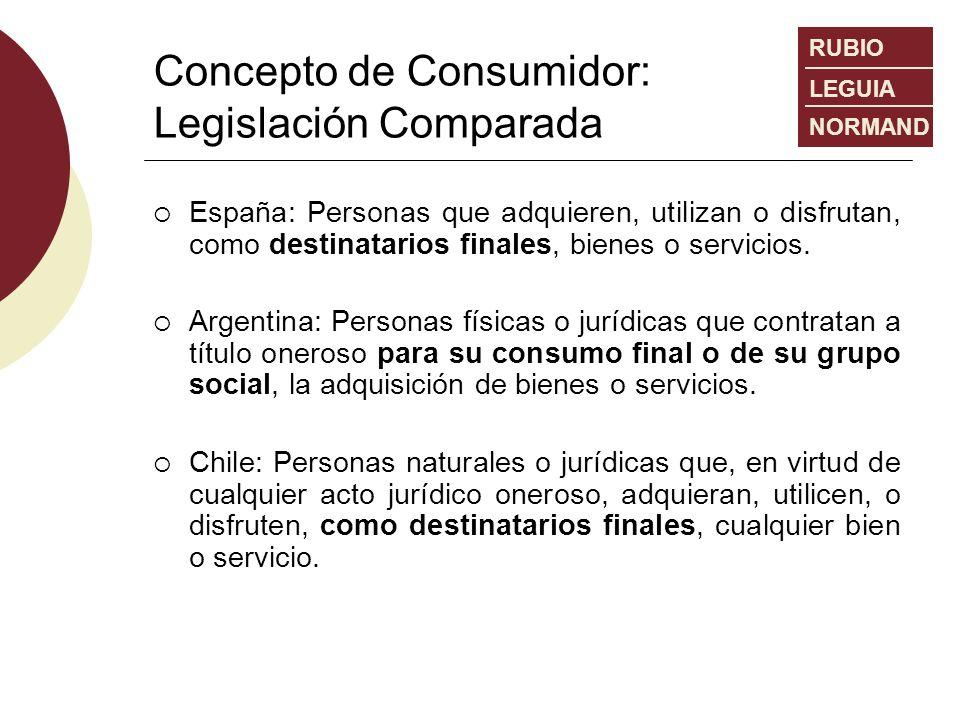 Concepto de Consumidor: Legislación Comparada