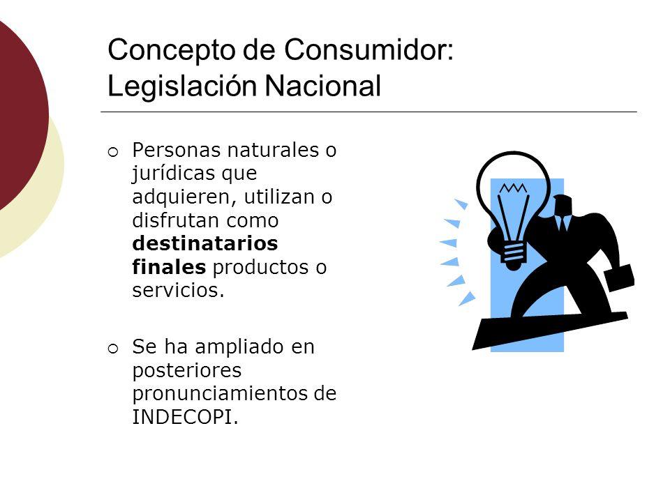 Concepto de Consumidor: Legislación Nacional