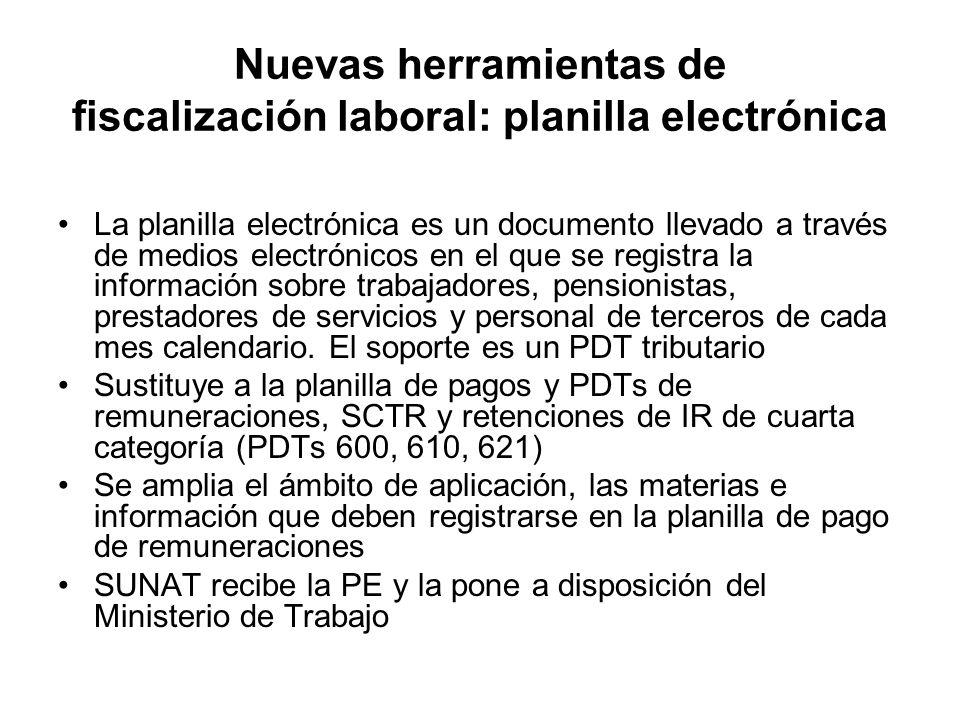 Nuevas herramientas de fiscalización laboral: planilla electrónica