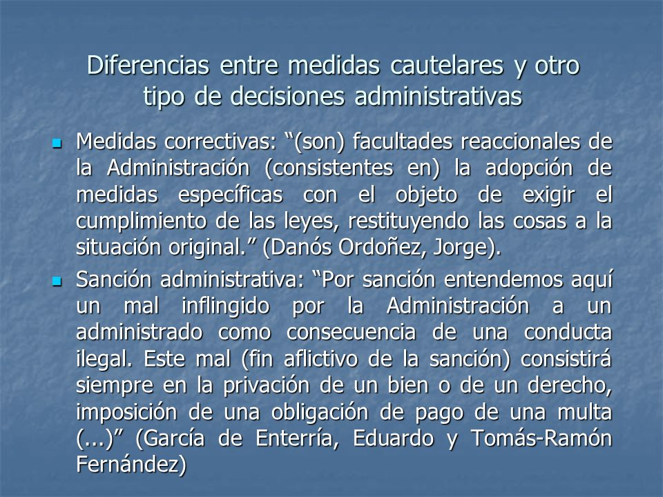 Diferencias entre medidas cautelares y otro tipo de decisiones administrativas