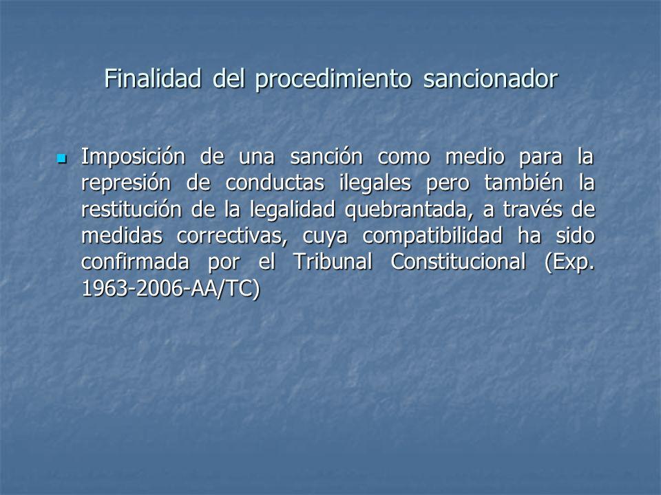 Finalidad del procedimiento sancionador