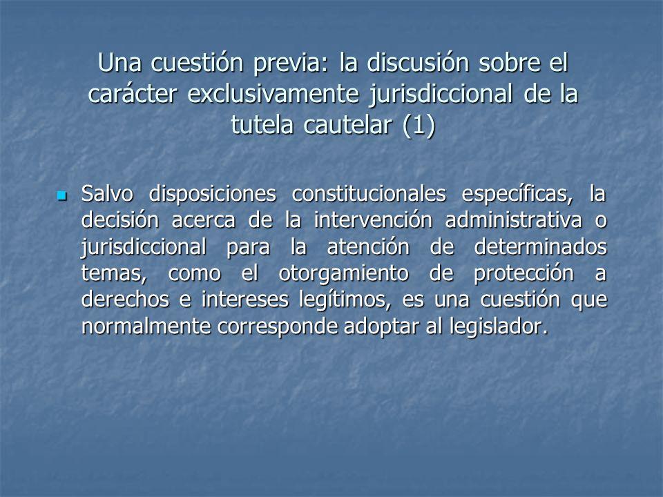 Una cuestión previa: la discusión sobre el carácter exclusivamente jurisdiccional de la tutela cautelar (1)