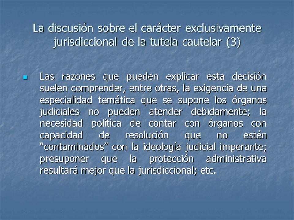 La discusión sobre el carácter exclusivamente jurisdiccional de la tutela cautelar (3)