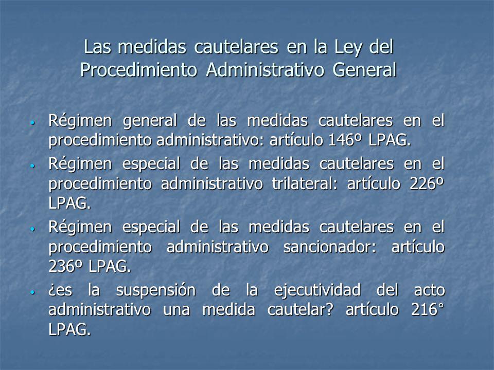 Las medidas cautelares en la Ley del Procedimiento Administrativo General