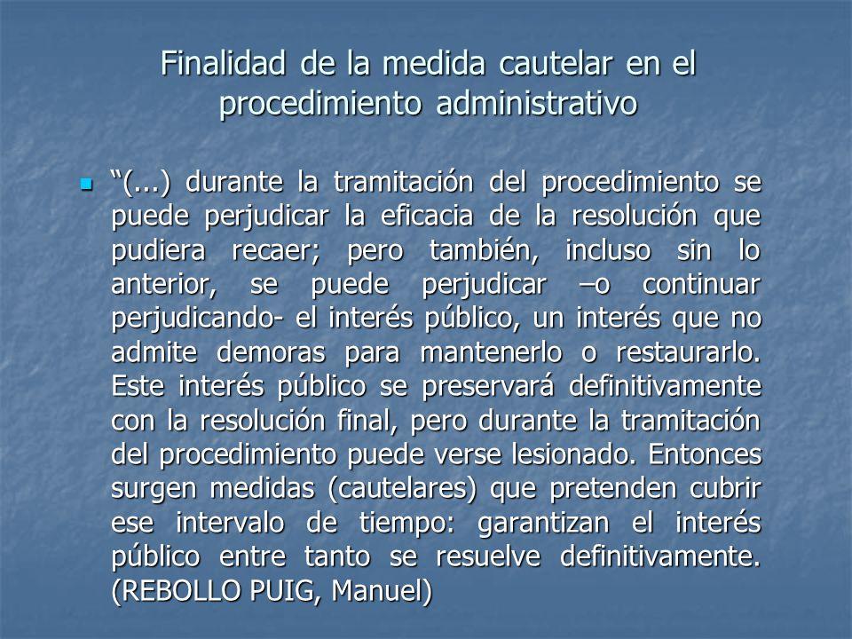 Finalidad de la medida cautelar en el procedimiento administrativo