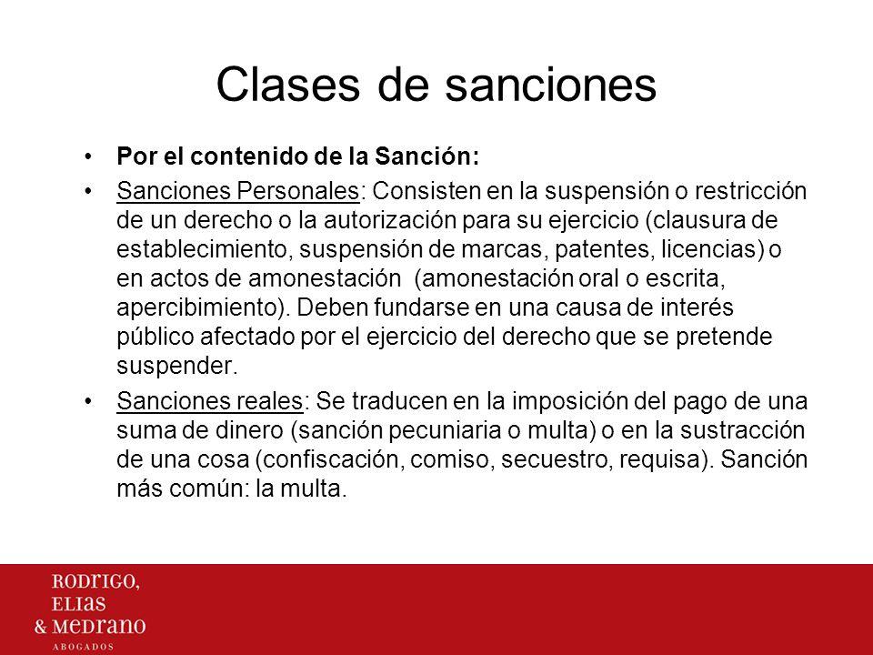 Clases de sanciones Por el contenido de la Sanción: