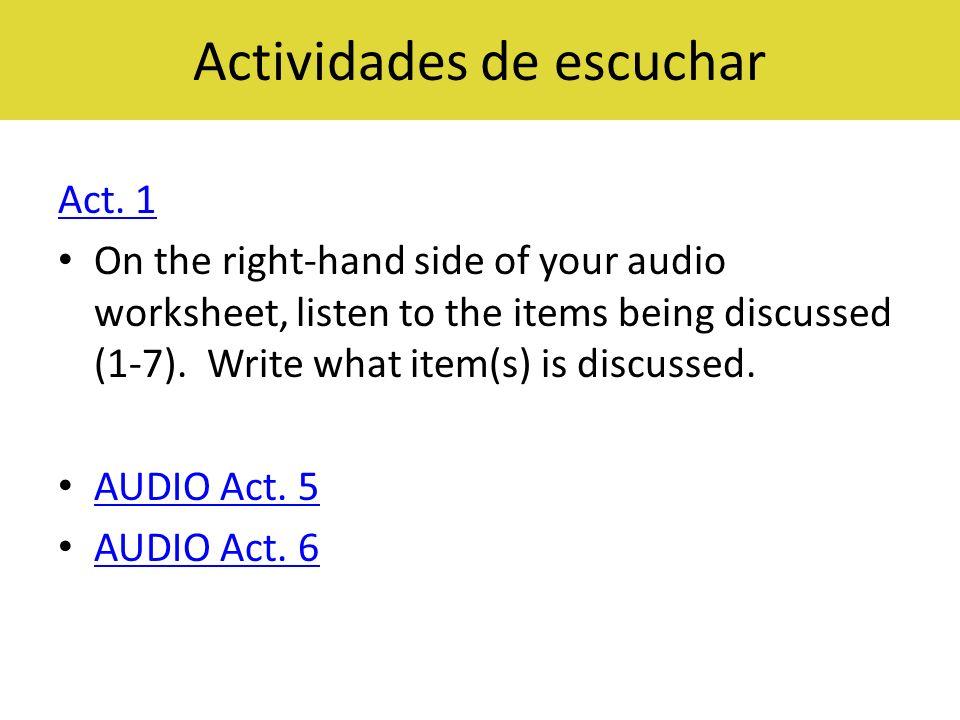 Actividades de escuchar