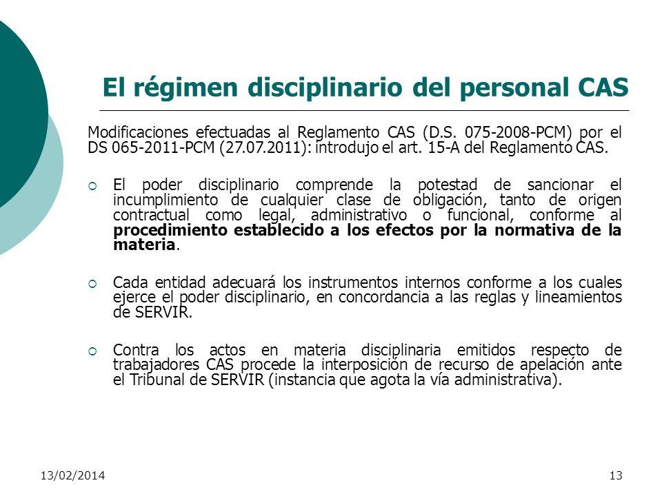 El régimen disciplinario del personal CAS