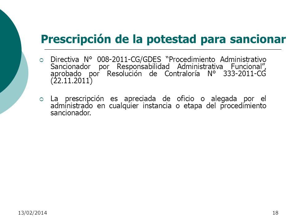 Prescripción de la potestad para sancionar