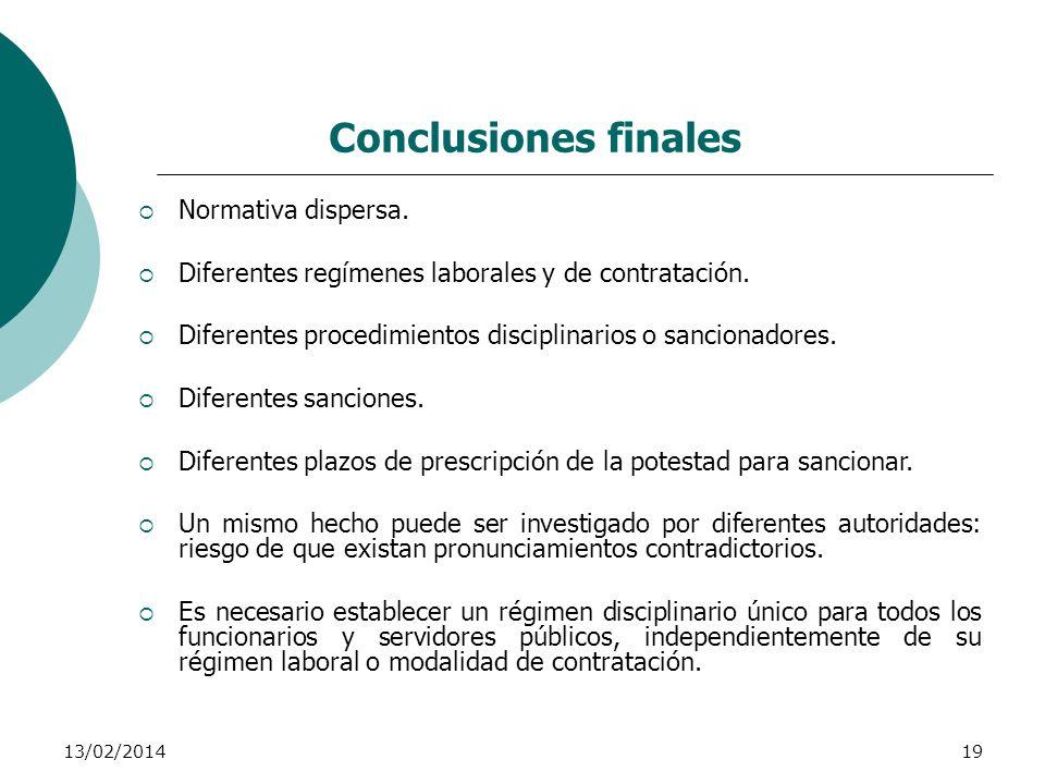Conclusiones finales Normativa dispersa.