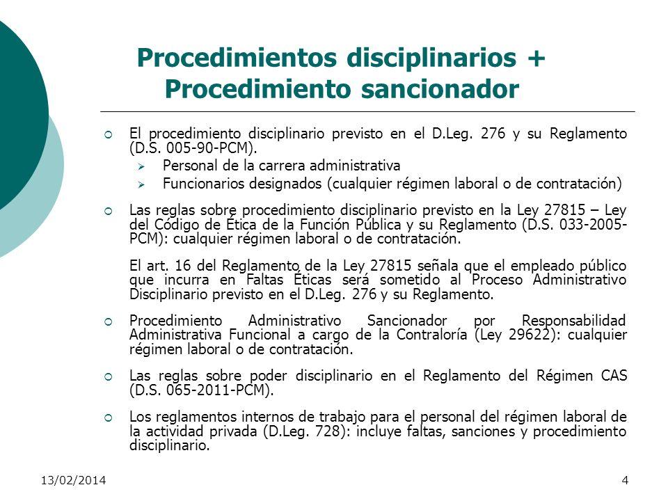 Procedimientos disciplinarios + Procedimiento sancionador
