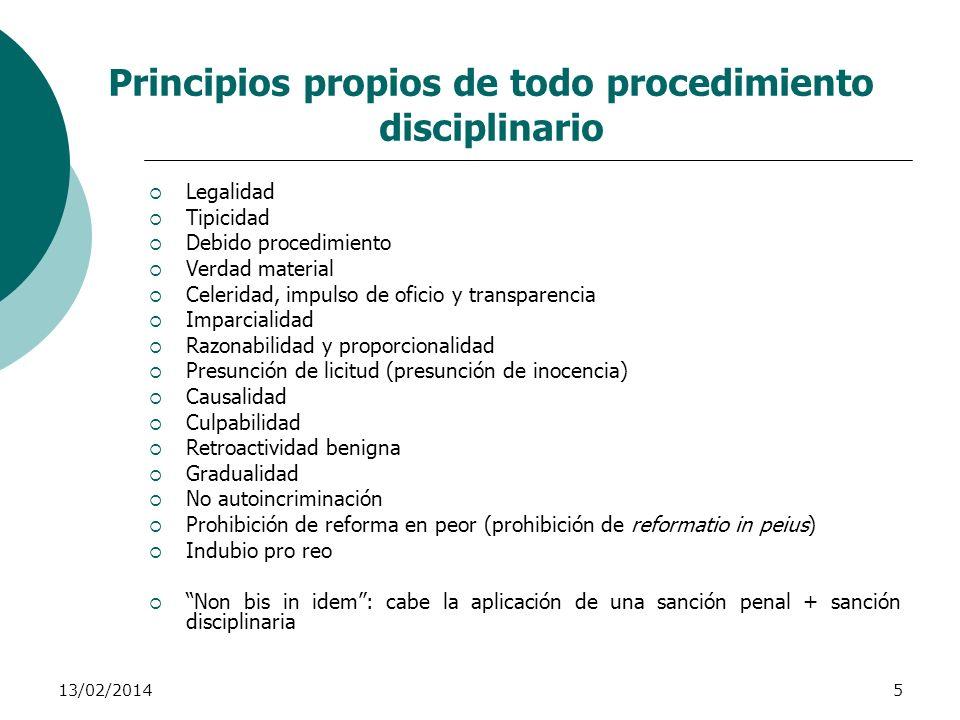 Principios propios de todo procedimiento disciplinario