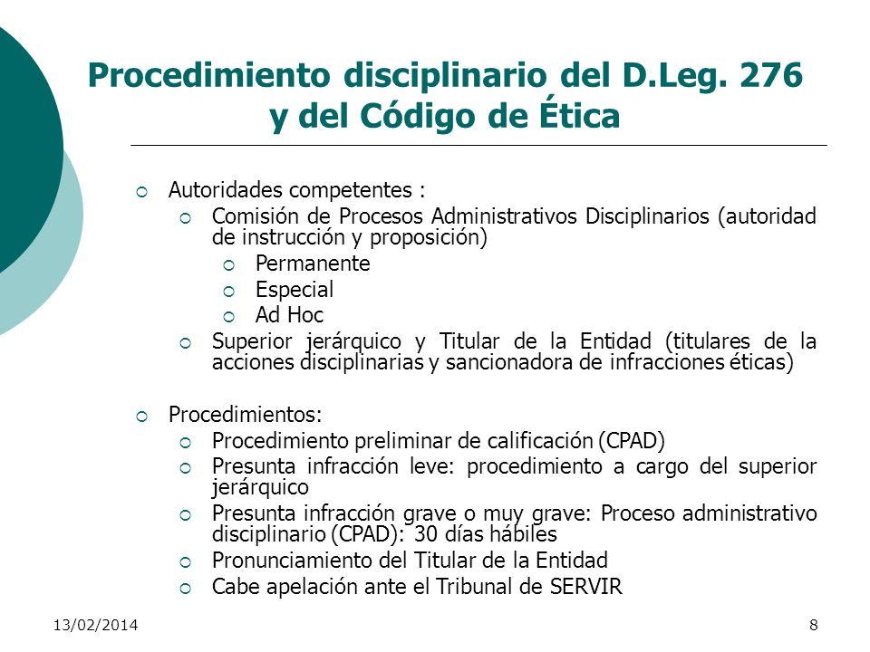 Procedimiento disciplinario del D.Leg. 276 y del Código de Ética