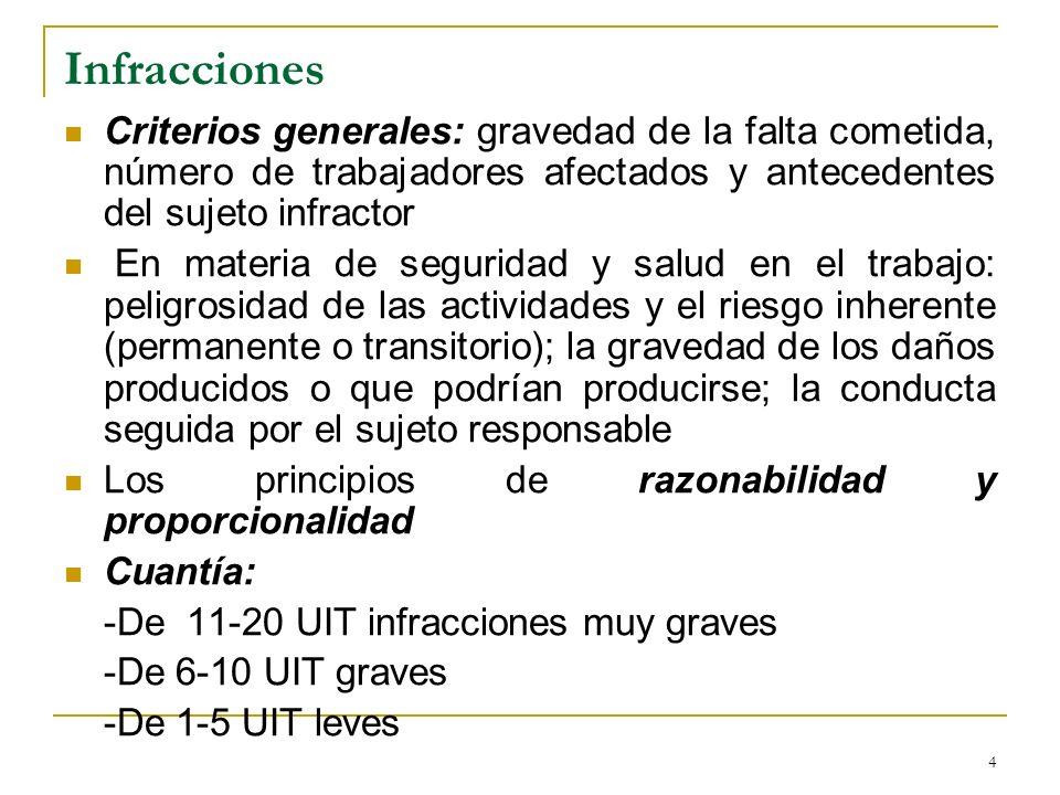 InfraccionesCriterios generales: gravedad de la falta cometida, número de trabajadores afectados y antecedentes del sujeto infractor.