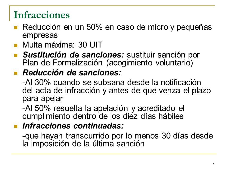 Infracciones Reducción en un 50% en caso de micro y pequeñas empresas