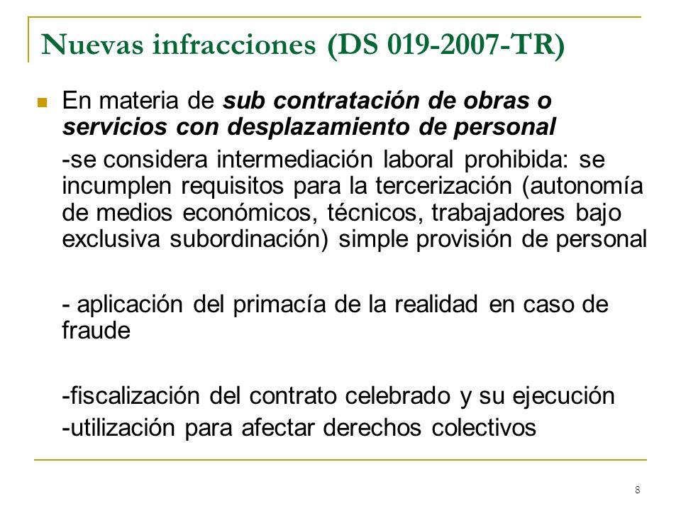 Nuevas infracciones (DS 019-2007-TR)