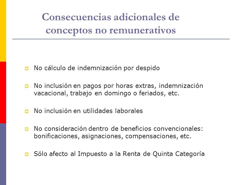 Consecuencias adicionales de conceptos no remunerativos