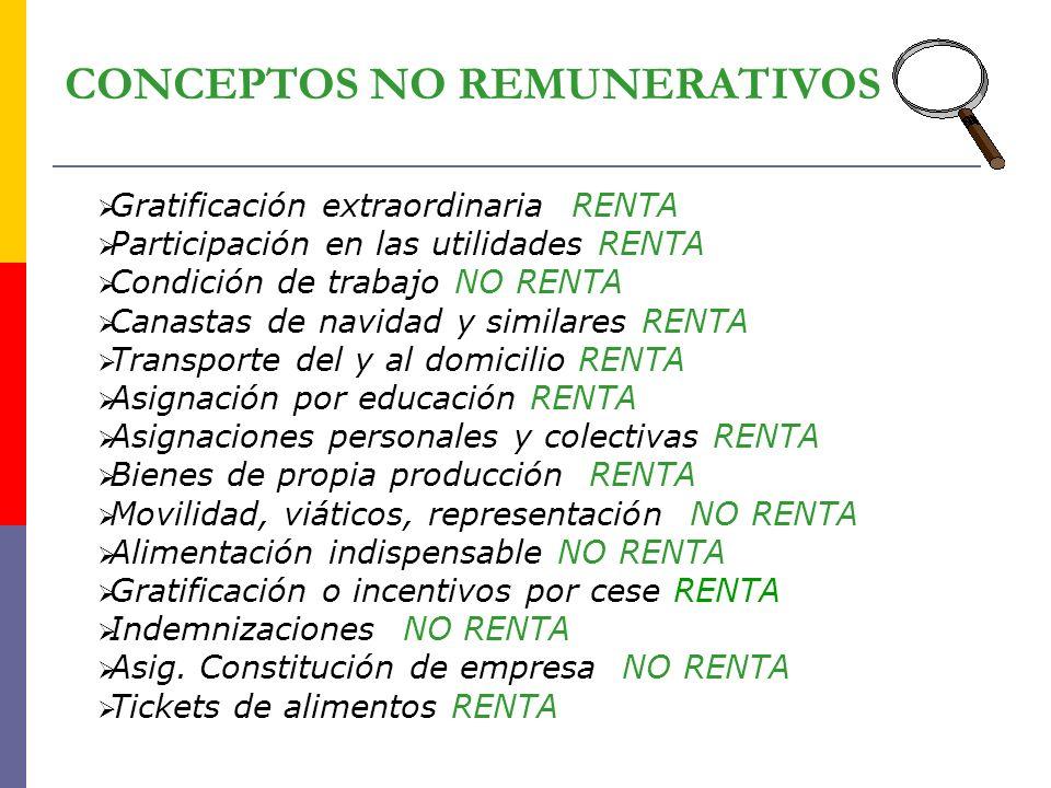 CONCEPTOS NO REMUNERATIVOS