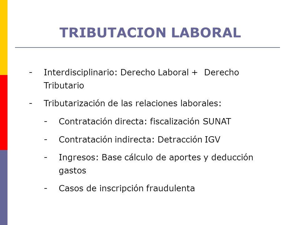 TRIBUTACION LABORAL Interdisciplinario: Derecho Laboral + Derecho Tributario. Tributarización de las relaciones laborales: