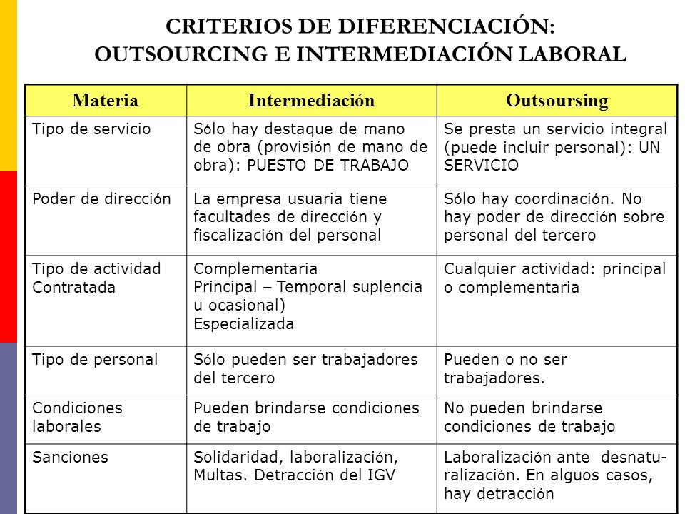 CRITERIOS DE DIFERENCIACIÓN: OUTSOURCING E INTERMEDIACIÓN LABORAL