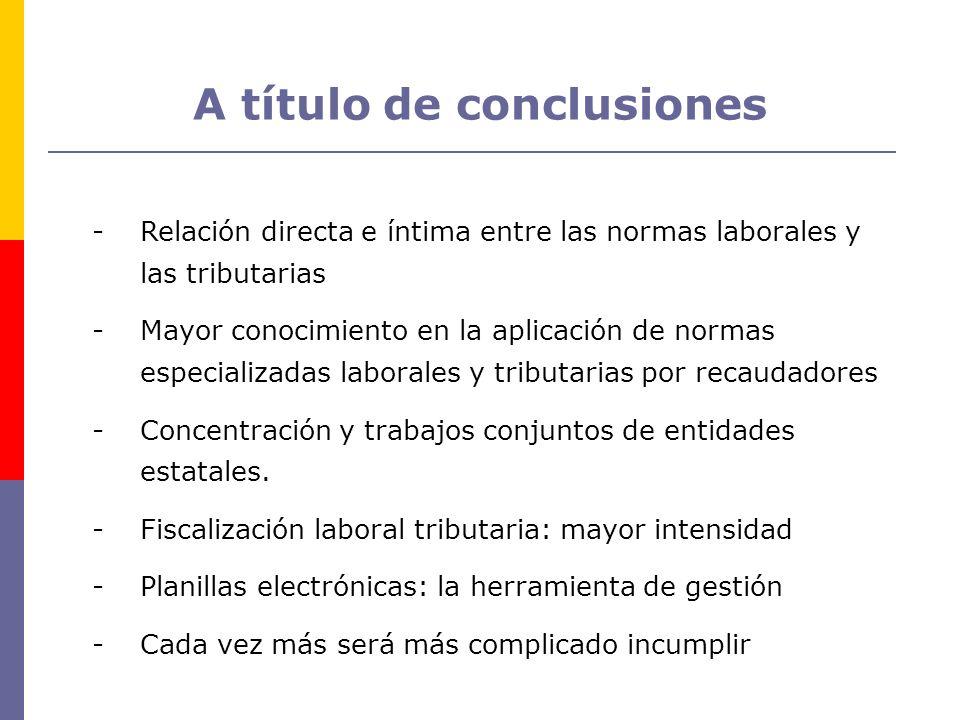 A título de conclusiones