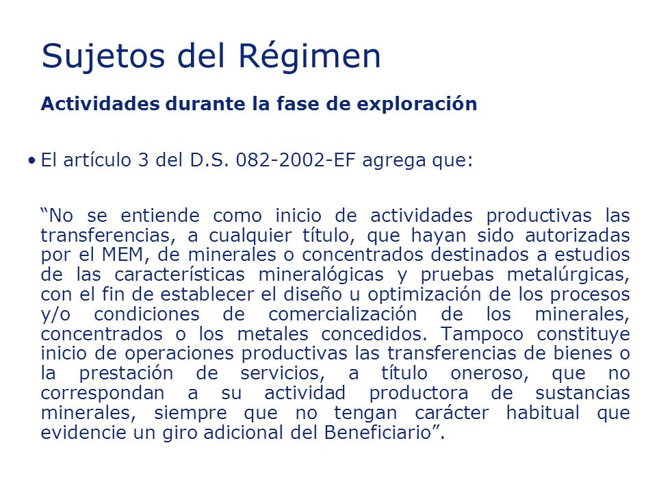 Insert section title Sujetos del Régimen