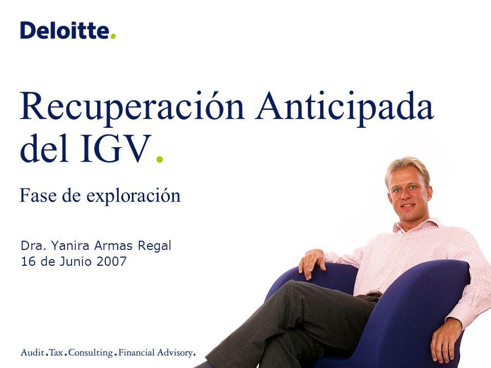 Recuperación Anticipada del IGV. Fase de exploración
