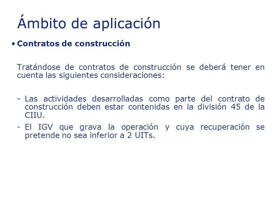 Insert section title Ámbito de aplicación Contratos de construcción