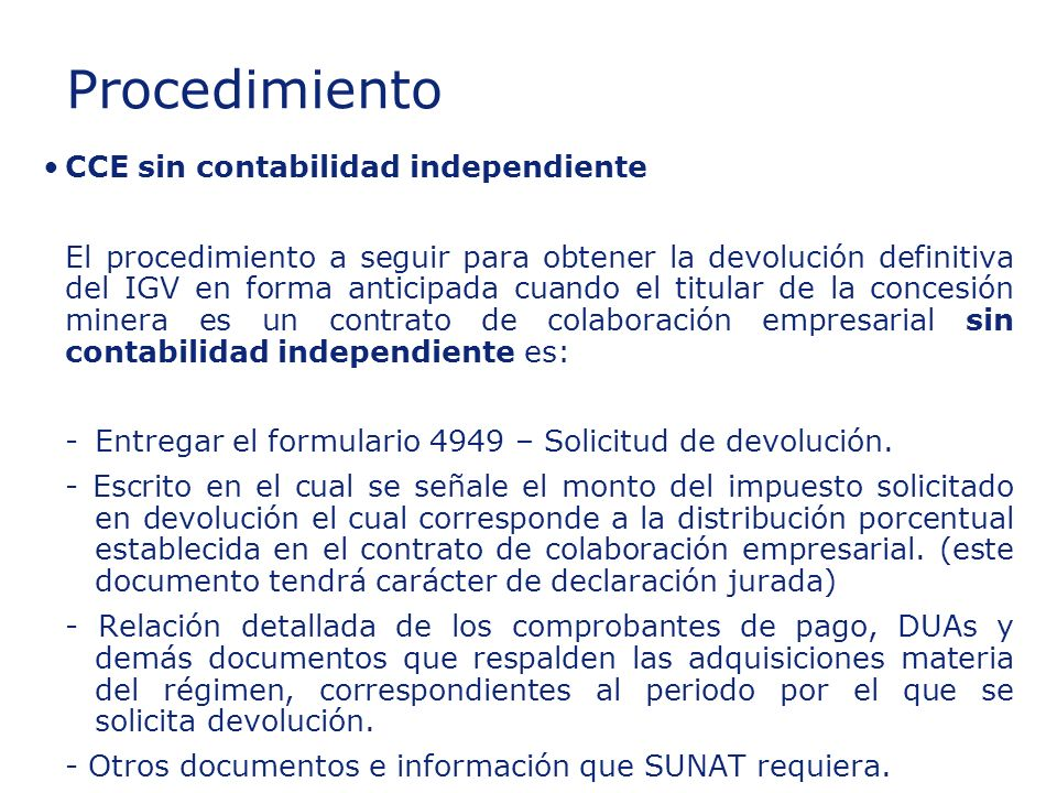 Insert section title Procedimiento CCE sin contabilidad independiente